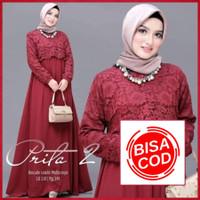 COD - Baju Kebaya Gamis Brukat Jumbo Prita Brokat Dress Wanita Murah