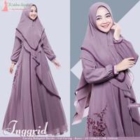 Gamis Inggrid Syari + Khimar Ceruty Busui Realpict Ori Yusha -Lavender