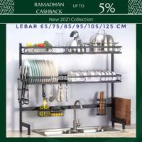 Rak Piring Dish Rack Atas Wastafel Impor Stainless Steel Anti Karat - 1 Level, 65cm