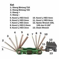Bike Tool kit Set Kunci L United 15in1 Kunci Set Sepeda dan Motor Ori