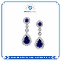 Anting batu blue sapphire berlian eropa