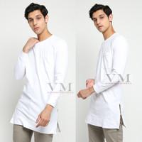VM Baju Koko Putih Panjang Kaos Polos Panjang