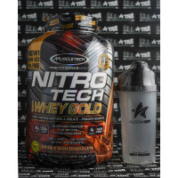 Muscletech NitroTech Whey Gold 5.5 lbs plus shaker whey protein
