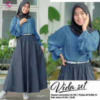 Baju Fashion Setelan Remaja Muslim Atasan Dan Rok Vida Set