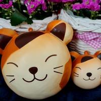 jumbo n mini animal head bun squishy ( caramel cat ) - 1 set