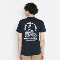 Kaos Pria Erigo T-Shirt Ride With Pride Cotton Combed Navy - M