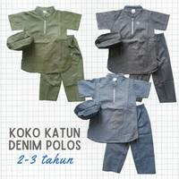 Baju Muslim Anak Laki Koko Turki set Katun Denim Polos 2-3tahun