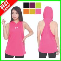 TankTop Sport Wanita Tank Top Hoodie Kaos Olah Raga Gym Lari Yoga Sexy - Pink, S