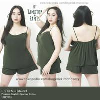 baju tidur wanita sexy jumbo tanktop & celana pendek satin hijau