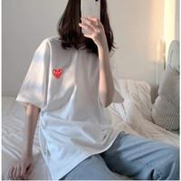 CDG Oversized T Shirt Tumblr Kaos Oblong Bordir Premium Commes