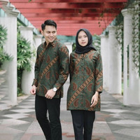 baju batik sarimbit pria dan wanita couple seragam kantor pesta gb46 - XXXL