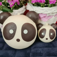 Jumbo n mini animal head bun squishy ( choco panda ) - 1 set