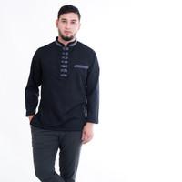 Baju Koko Pria Akhtar Premium Bahan Cotton Keren Nyaman Dipakai - Hitam, S