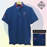 Size M-LD98 Giordano Original POLO SHIRT PRIA KAOS KERAH Biru Cowo
