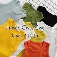 Singlet Polos Anak Usia 2-10th Baju Singlet Anak Laki Laki/Perempuan