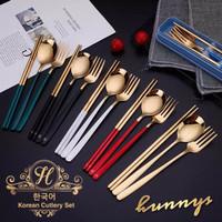 Sendok Garpu Sumpit Korea Gold Set   Travel Cutlery   Set Alat Makan