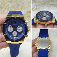 JAM TANGAN PRIA GUESS RUBBER PREMIUM GRADE JAPAN QUARTZ - Biru Gold, Diameter 45mm