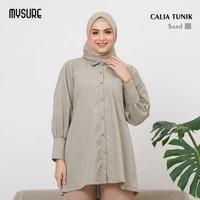 baju atasan muslim tunik kantor wanita murah terbaru calia mysure - sand, XS