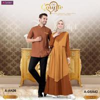 Didit Promo Baju Gamis Dan Koko Couple Aurany Ak06 Caramel, Gsa42 Gold