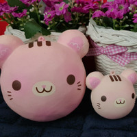 Jumbo & mini animal head bun squishy ( cotton candy cat )- 1 set
