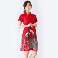 Baju Batik Wanita-Dress Batik Merah Merak Size M dan L - Red D, M