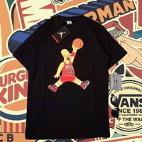 kaos tshirt air jordan jump homer simpson black Tees shirt