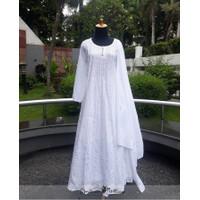 Baju Gamis Embroidery Katun Putih White Free Selendang ( Syari )