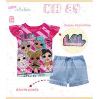 Baju Setelan LOL Sequin Anak Cewek Impor - 100