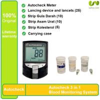 Auto Check Alat Tes Gula Darah Kolesterol Asam Urat 3 in 1