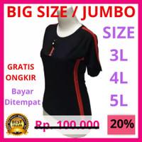 Baju Olahraga JUMBO BIGSIZE Wanita Kaos Senam Perempuan Lengan Pendek - merah lis hitam, XXXL