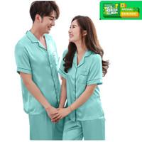JCFashion CP Couple Piyama Satin Lengan Pendek - Harga Spesial