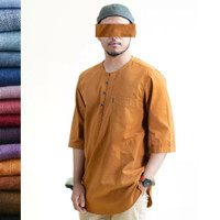Kurta Pakistan Fashion Muslim Pria S M L XL/ Baju Koko Pria Lengan 3/4