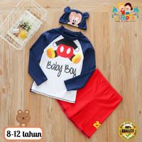 Baju Renang Setelan Anak Laki-laki Mickey Mouse Lengan Panjang 8-12 Th
