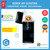 Korek Api Elektrik USB Fingerprint Touch LED Electric Lighter Recharge