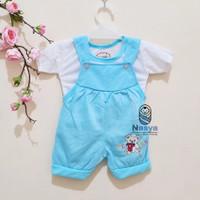 0027 Biru - Setelan murah baju bayi perempuan 0-6 bulan model Kodok