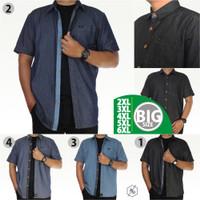 Kemeja Denim Pria Jeans Lengan Pendek Big Size Jumbo Katun Hem Cowok - Navy List Biru, 3XL