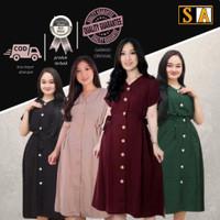 Dress Wanita Baju Dress Korea /Dress Muslin / Dress Kondangan Navy-110