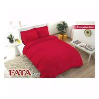 Full Set Bedcover Polos Emboss Fata King 180 Warna Pompeian Red Merah