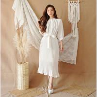 Midi Dress Plisket Ribbon Belt Elegant Classic White SL