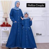 Baju Gamis Maxy Ibu Anak Nafiza couple Maxy Jeans deep green blue bdk