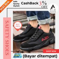 Sepatu safety shoes pria sport sneaker fashion nyaman ringan hitam 09