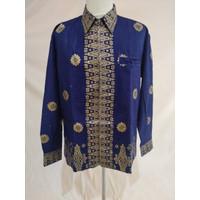 Baju Batik Songket Palembang Cantik Manis Biru Gold ( Bisa Couple ) - Pria