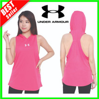 NEW Tanktop Hoodie Sport Tank Top Olah Raga Yoga Kaos Lari Wanita Sexy - Pink, S