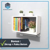 Rak Dinding Minimalis Kotak - Ambalan Rak Buku Minimalis - Rak Gantung - Hitam