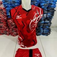 jersey badminton bulutangkis kaos setelan olahraga pria futsal basket - M, Merah