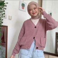 baju cardy cardigan cewek wanita terbaru rajut trendy pink ungu b3th