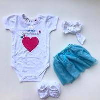 Baju setelan jumper celana polkadot bandana pergi jalan bayi perempuan