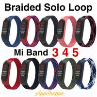 Mi Band 6 5 4 3 Braided Solo Loop Silicone Stretchable Strap KEPANG