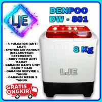 Mesin Cuci 2 Tabung 7-8 Kg DENPOO DW 801TP 4P - DW 801 (MERAH)