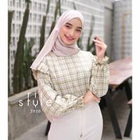Baju Atasan Wanita Rubi Top Blouse Motif Kotak / Blouse Lengan Panjang